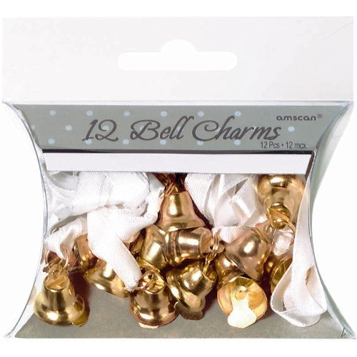 Gold Double Bell Favor Charms 12ct