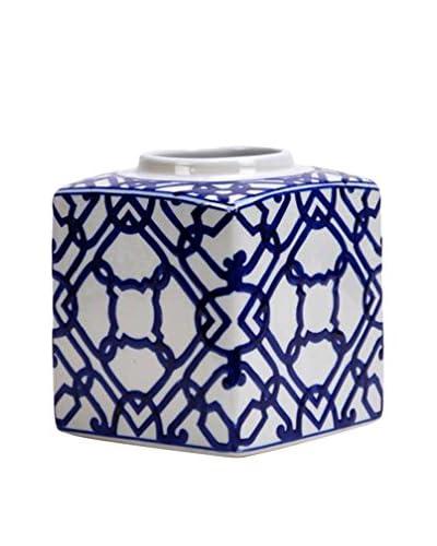 Winward Ceramic Square Cobalt Vase, Blue/White