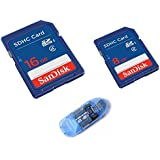 Sandisk Class4 16GB SDHC Card With Sandisk 8GB Class4 SDHC Card And SD / MMC / RS-MMC Pen Card Reader ( Colors...