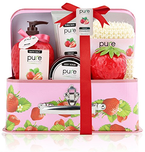 Pure! Spa in a Basket. Deluxe Gift Set for Women (Fresh Strawberry)