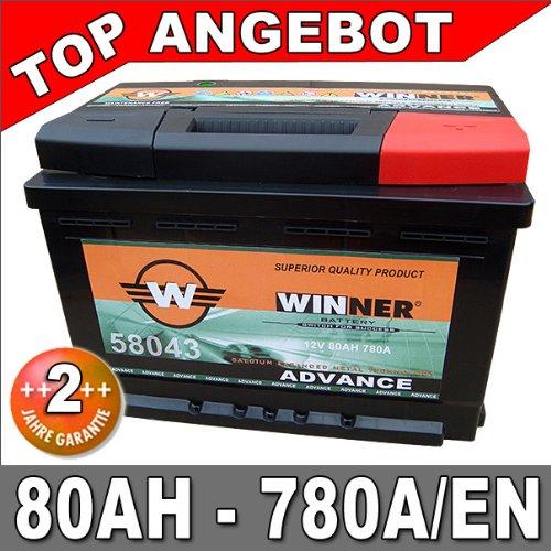 Autobatterie 80Ah 780A +30% mehr Leistung Starterbatterie