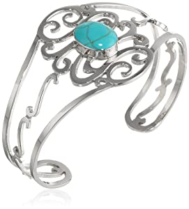 "Sterling Silver Oval Turquoise Center Swirl Cuff Bracelet, 6.25"" from Athra NJ, Inc."