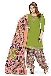 RK Fashion Womens Cotton Un-Stitched Salwar Suit Dupatta Material ( VARIETY-GANPATI-SUPRIYA-216-Green-Free Size)