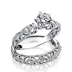 Bling Jewelry 925 Sterling Silver Vintage Style .75ct CZ Round Engagement Wedding Ring Set