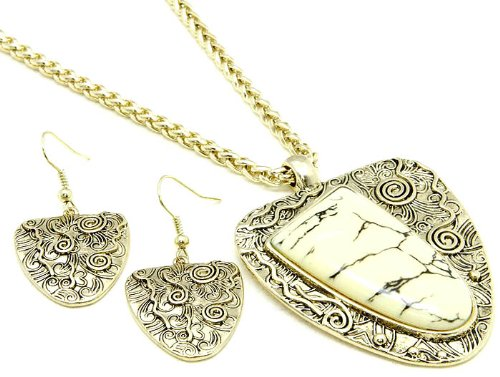 NECKLACE AND EARRING SET METAL NATURAL STONE CREAM Fashion Jewelry Costume Jewelry fashion accessory Beautiful Charms