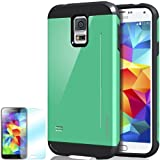 [Emerald Mint] Obliq Samsung Galaxy S5 Case SkyLine Pro w/ HD Screen Protector - Premium Slim Fit Dual Layer Hard Case - Verizon, AT&T, Sprint, T-Mobile, International, and Unlocked - Case for Samsung Galaxy S5 SV GS5 2014 Model Model