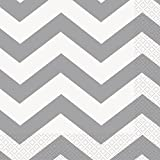 Chevron Party Napkins, Silver, 16 Count