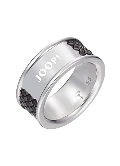 Joop Women's Ring 925 Sterling Silver Rhodium Plated Crystal Zirconia Rhombus Black