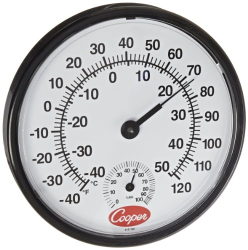 Cooper-Atkins 212-150-8 Bi-Metal Wall Mount Thermometer with Plastic Lens, Humidity Meter, -40/50°C Temperature Range - 1