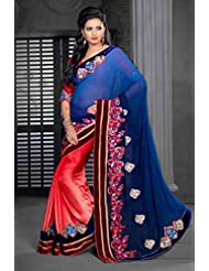 AG Lifestyle Blue & Peach Chiffon Saree With Unstitched Blouse ASL609