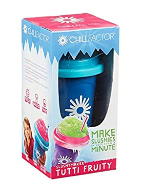 Chill Factor Super Magic Colour Change Slushy Maker & Straw Spoon Slush Cup Frozen Ice Drink Freeze Squeeze Chilled Iced Drinks Fun Gift for Kids Non Toxic BPA Free No Mess No Fuss