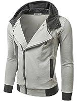 Doublju Mens Rider Hoodies Jacket with Unbalanced Zip up in 2 Colors