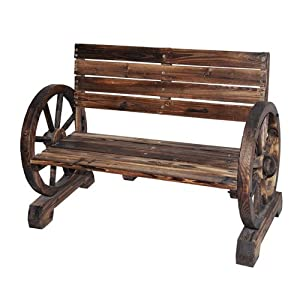 Astonica 50104245 Wooden Wagon Wheel Bench Outdoor Benches Patio Lawn Garden