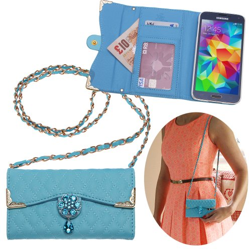 Xtra-Funky Exclusive Luxury Faux Leather Quilted Handbag Purse Style Case With Carry Strap And Beautifully Decorated Crystal Flower For Samsung Galaxy S5 (I9600) - Blue (Includes A Mini Stylus And Lcd Screen Protector Film)