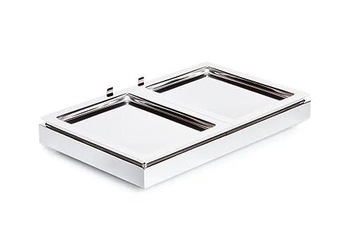 APS Cool Plates Set 3 53 x 32,5 cm, altezza 8,5 cm 18/10 in acciaio INOX, lucidato GN 1/1 base element 2 x GN 1/2 in acciaio inox vassoio fresco batteria by SIEGER DESIGN