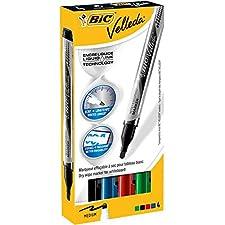 VELLEDA Lot de 10 Etuis 4 Feutres tableau blanc effaçable LIQUID INK Pocket Pte Ogive Moy. N/B/R/V