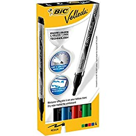 VELLEDA Lot de 10 Etuis 4 Feutres tableau blanc effaçable LIQUID INK Pocket Pte Ogive Moy. N/B/R/V
