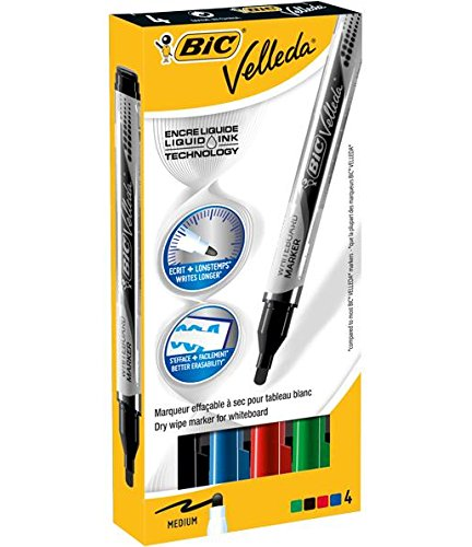 VELLEDA Lot de 3 Etuis 4 Feutres tableau blanc effaçable LIQUID INK Pocket Pte Ogive Moy. N/B/R/V