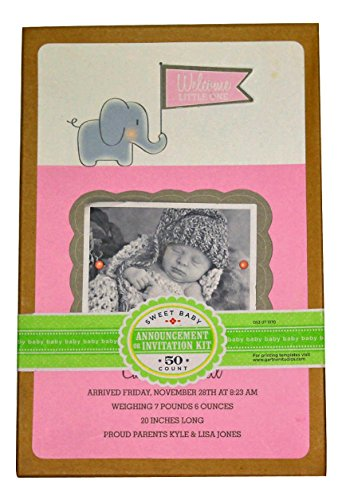 Elephant Announcement Kit Baby Girl - 50 Count - 1