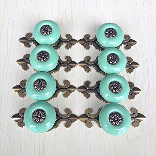 SunKni Prime Quality 8Pcs Vintage Ceramic Knobs Handles Pulls for Kitchen Furniture Door Drawer Cabinet Dresser Closet Wardrobe Cupboard Vanities with Screws New Sets Pack of 8 (Broze-Green) (Furniture Knobs And Pulls compare prices)