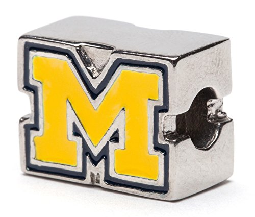 University of Michigan Bead Charm - Block M in MAIZE with Blue Border - Fits Pandora & Others
