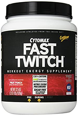 CytoSport Fast Twitch Power Workout Drink Mix, Fruit Punch