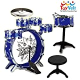 12 Piece Kids Jazz Drum Set – 6 Drums, Cymbal, Chair, Kick Pedal, 2 Drumsticks, Stool – Little Rockstar Kit to Stimulating Children's Creativity, - Ideal Gift Toy for Kids, Teens, Boys & Girls