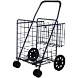 STRONICS Jumbo Folding Shopping Cart with Extra Basket Swivel Rotating Wheels