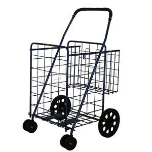 stronics jumbo folding shopping cart with extra basket swivel rotating