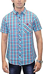 AA' Southbay Men's Turquoise Blue & Red Twill Checks 100% Premium Cotton Half Sleeve Casual Shirt