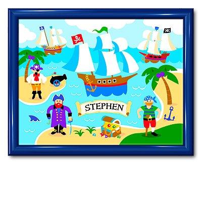 Olive Kids Pirates Large Framed Art- Gloss Navy Frame front-941034