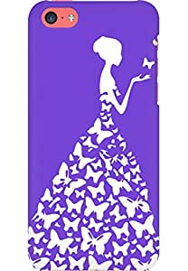 AMEZ designer printed 3d premium high quality back case cover for Apple iPhone 5C (purple white girl princess)