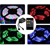 Dreamy Lighting 5050 SMD 16.4ft 5 Meter 300LEDs RGB Flexible Waterproof Strip Lighting with 20keys Music Sound Controller infrared remote and 12V 5A Power Supply