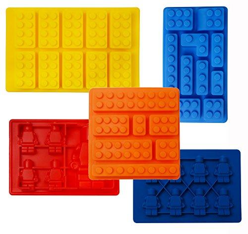 Moulessilicone, iNeibo Kitchen bac a glacon/ Lot de 5 moules à glaçons à theme Briques de lego, blocs de construction lego et lego minifigures- 100% silicone alimentaire- sans bpa- pour faire des glaçons, chocolat, bonbons, gâteau, gelée, etc- Un cadeau d'exception pour les fans de lego