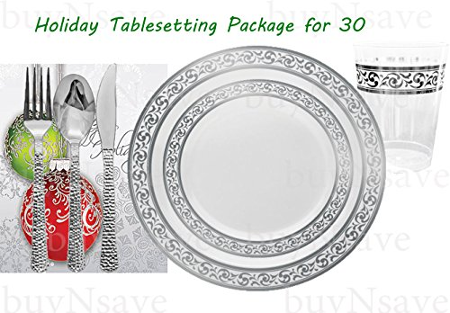 buyNsave Christmas Holiday Party Dinnerware Set, Elegant Disposable Heavyweight Plastic Dinnerware Set, Decor White with Silver, 30 Dinner Plates 10.25