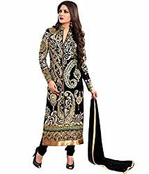 Tellywoodstyle Women's Georgette Unstitched Dress Material (ramblack 07_Black_Free Size)