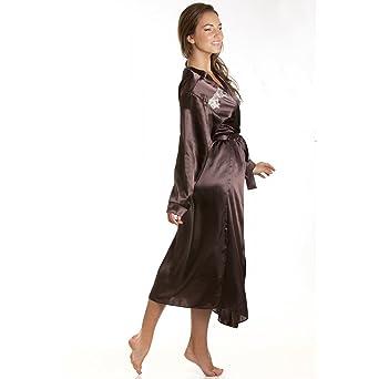 robe de chambre chambre en satin pour femme avec ceinture ceinture chocolat taille 38. Black Bedroom Furniture Sets. Home Design Ideas