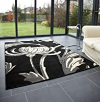 "Modern Large Rug in Black Grey 120 x 160 cm (4' x 5'3"") Carpet by Lord of Rugs"