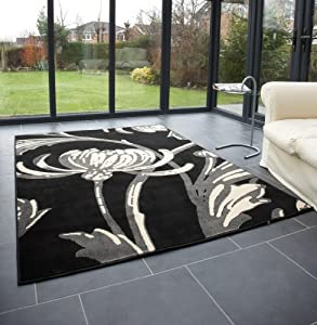"""Modern Large Rug in Black Grey 120 x 160 cm (4' x 5'3"""") Carpet by Lord of Rugs"""