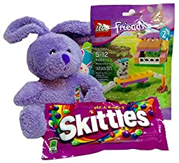 Lego Friends (Bunny Hutch), Skittles, and Mini Plush Purple Bunny! 3-pc