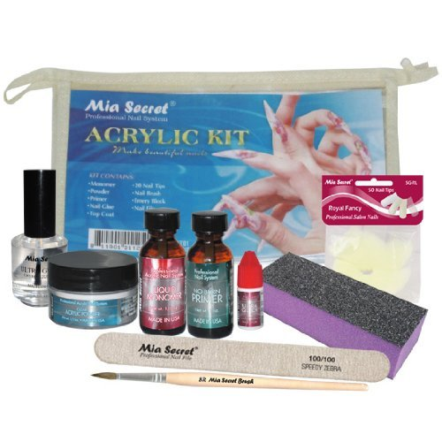 Mia Secret Acrylic Nail Kit: 1/2 oz liquid monomer, 1/2 oz clear acrylic powder, ultra quick nail glue, 1/2 oz ultra gloss top coat, fancy 20 nail tips, 1/2 oz primer, speedy zebra straight nail file 100/100, #8 nail brush and emery block