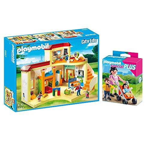 PLAYMOBIL® Kita 2er Set 5567 4782 - Kita Sonnenschein & Mama mit Kindern