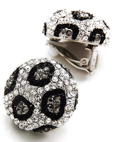 Silvertone Hematite Clear and Black Crystal Clip On Fashion Earrings