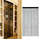BESTOPE Romantic Solid Color Fringe Door Curtain Drape String with Bead Chain 1X2M (Black)