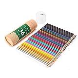 iArtker 色鉛筆 36色セット 三角軸 鉛筆削り器付き 円筒ケース入り 筆立て