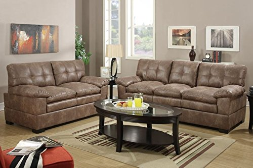 Modern 2 Pieces Mocha Velvet Sofa Set by Poundex