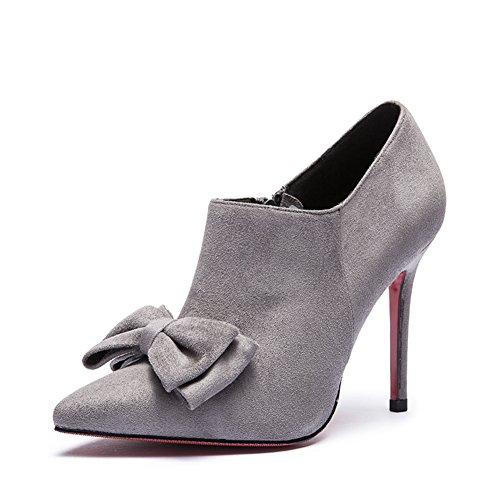 Signora dolce fiocco di scarpe per autunno/inverno/Elegante tacchi a spillo a punta-B Lunghezza piede=24.3CM(9.6Inch)