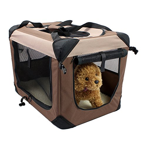 Portable Soft Folding Pet Carrier, Crate, Cage for Dogs, Cats or other small pets: Complete Travel/Outdoor/Indoor friendly Kennel bag (Brown) L