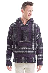 Baja Joe - Premium Woven Baja Hoodie Jerga Mens (Medium, Purple)