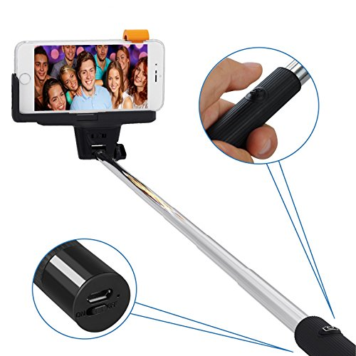 selfie stick liger wireless bluetooth extendable selfie stick with remote shutter for iphone 6s. Black Bedroom Furniture Sets. Home Design Ideas
